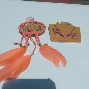Other - Love Necklace With Coral Dream Catcher 6 Pair Earr